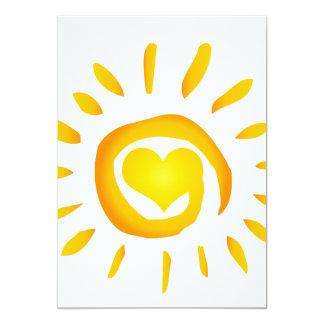 "12887 BRIGHT YELLOW HEART SUNSHINE SURF SWIRL SYMB 5"" X 7"" INVITATION CARD"
