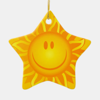 12890 SMILING SUNSHINE HAPPY CARTOON VECTOR GRAPH CERAMIC ORNAMENT