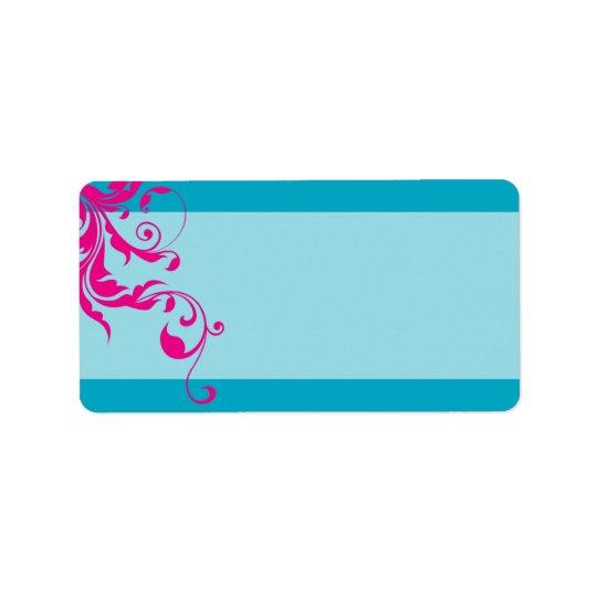 128-marnie BAT MITZVAH flourish turquoise pink Label