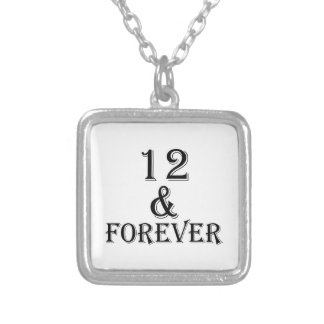 12 And  Forever Birthday Designs Silver Plated Necklace