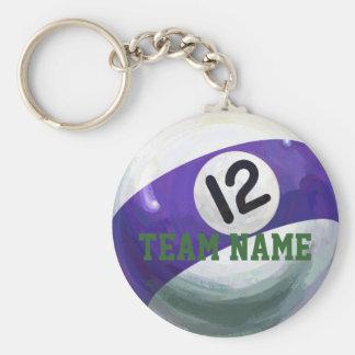 12 Ball Basic Round Button Keychain