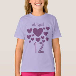 12 Birthday Girl or Any Year PURPLE Hearts V19 T-Shirt