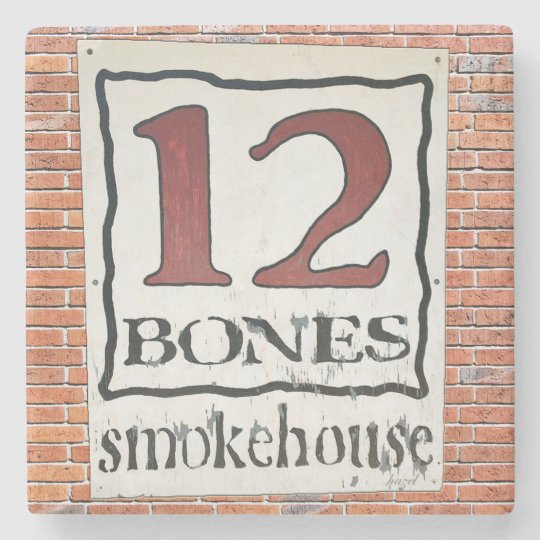 12 Bones Asheville NC Marble Stone Coaster. Stone Beverage Coaster