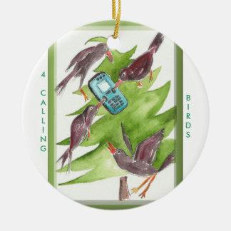 12 Days of Christmas 4 Calling Birds Round Ceramic Ornament