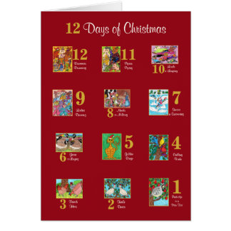 12 Days of Christmas Cute Animal Typography Custom Card