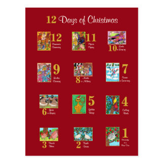 12 Days of Christmas Cute Animal Typography Custom Postcard