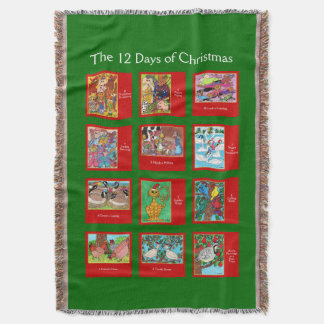 12 Days of Christmas Cute Animals Throw Blanket