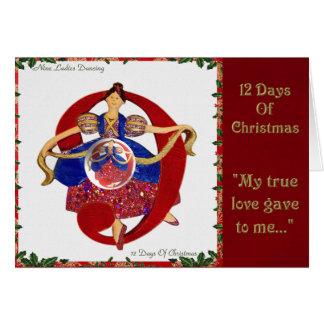 12 Days of Christmas Nine Ladies Dancing Card