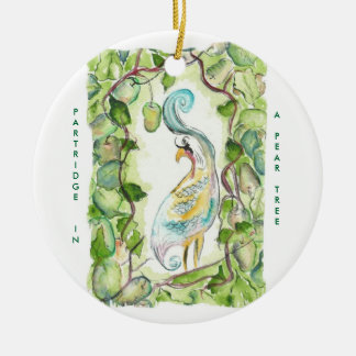12 days of Christmas  Partridge Round Ceramic Ornament