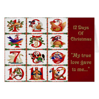 12 Days Of Christmas Quilt Print Gifts Card