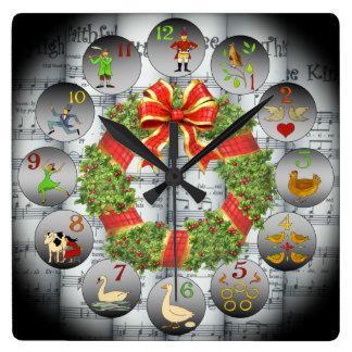 12 Days Of Christmas ~Sheet Music~Christmas Wreath Clocks
