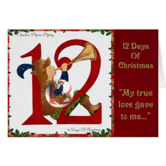12 Days of Christmas Twelve Pipers Piping Card