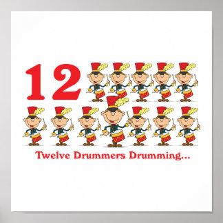 12 days twelve drummers drumming poster