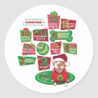 12 Dogs of Christmas Classic Round Sticker