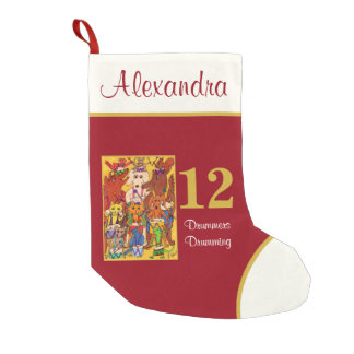 12 Drummers Drumming Cute Animals Custom Name Small Christmas Stocking