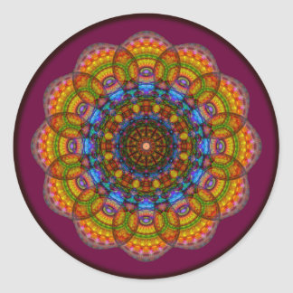 12 Eyes Mandala Round Sticker