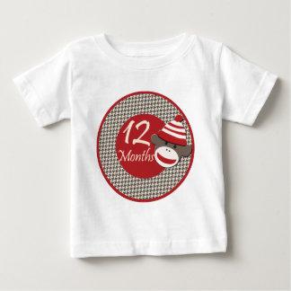 12 Months Sock Monkey Milestone Baby T-Shirt