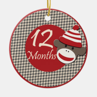 12 Months Sock Monkey Milestone Round Ceramic Ornament