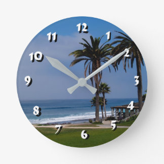 12 Number Choices to Choose -Beach and Trees-Clock Round Clock