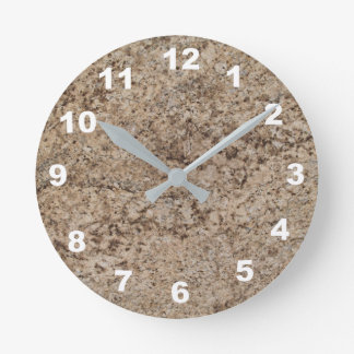 12 Number Choices to Choose- Brn-Tan Marble Clock