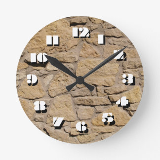 12 Number Choices to Choose-Brown Stone-Clock Round Clock
