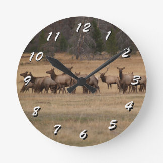 12 Number Choices to Choose --Elk Herd--Clock Round Clock