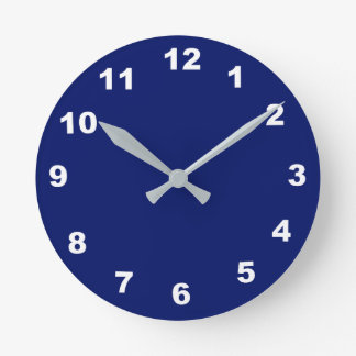 12 Number Choices to Choose From Navy Blue Clock
