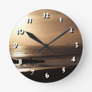 12 Number Choices to Choose-Golden Sunset-Clock Round Clock
