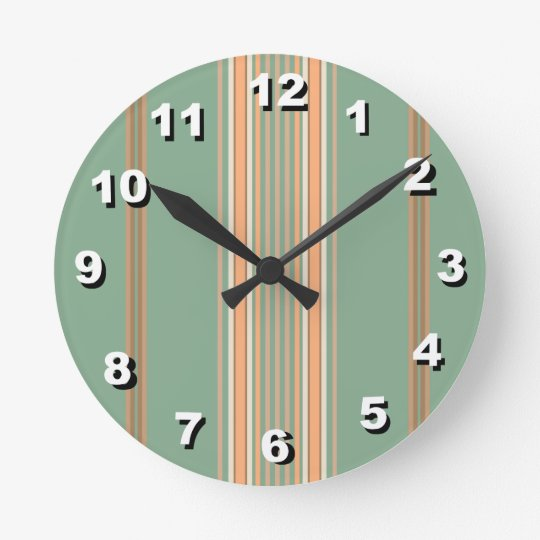 12 Number Choices to Choose-Green Striped Clock
