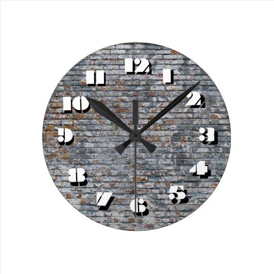 12 Number Choices to Choose-Grey Brick-Clock Wall Clock