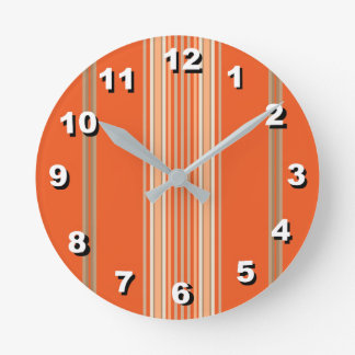 12 Number Choices to Choose-Orange Striped Clock