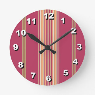 12 Number Choices to Choose-Pink Striped Clock