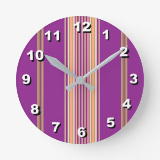 12 Number Choices to Choose-Purple Striped Clock