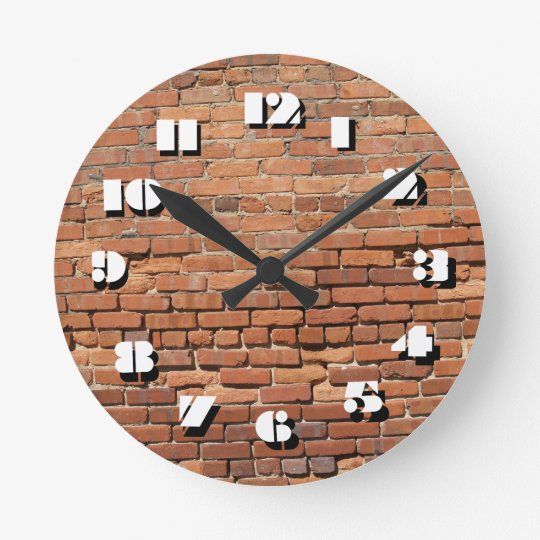 12 Number Choices to Choose-Red Brick-Clock Wall Clocks