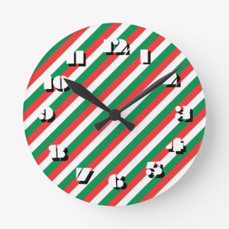 12 Number Choices to Choose -Stripes-Clock Round Clock