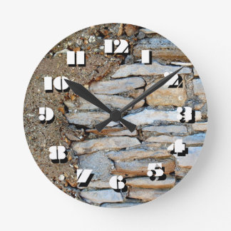 12 Number Choices to Choose-Tan Stone-Clock Round Clock