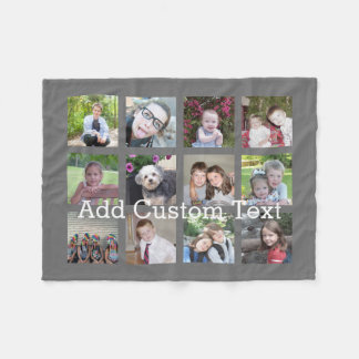 12 Photo Collage with Charcoal Gray Background Fleece Blanket