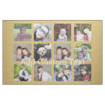 12 Photo Collage with Gold Background Fabric