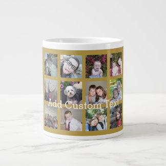 12 Photo Collage with Gold Background Jumbo Mug
