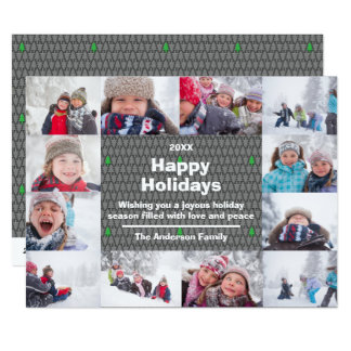 12 Photo Happy Holidays Collage-6x8 Christmas Card