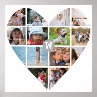 12 Photo Heart Collage Family Monogram Poster