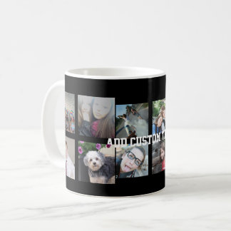 12 Photo Instagram Collage with Black Background Coffee Mug