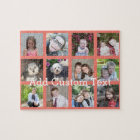 12 Photo Instagram Collage with Coral Background Jigsaw Puzzle