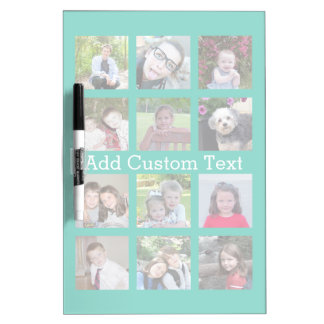 12 Photo Instagram Collage with Green Background Dry Erase Board