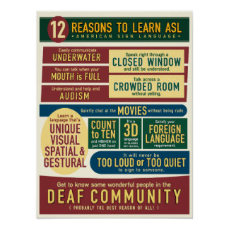 12 Reasons to Learn ASL. poster- Poster