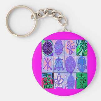 12 Reiki n Karuna Reiki Signs - Pink Border Basic Round Button Keychain