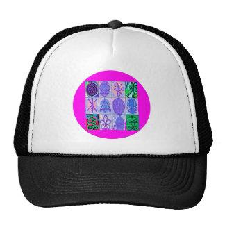 12 Reiki n Karuna Reiki Signs - Pink Border Trucker Hat