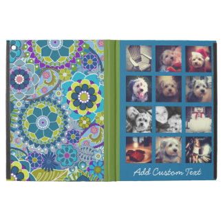 12 square photo collage colorful floral pattern