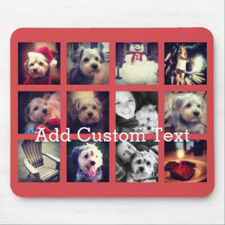 12 square photo collage with cayenne background mouse pad