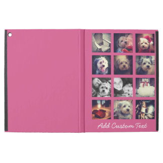 "12 square photo collage with hot pink background iPad pro 12.9"" case"
